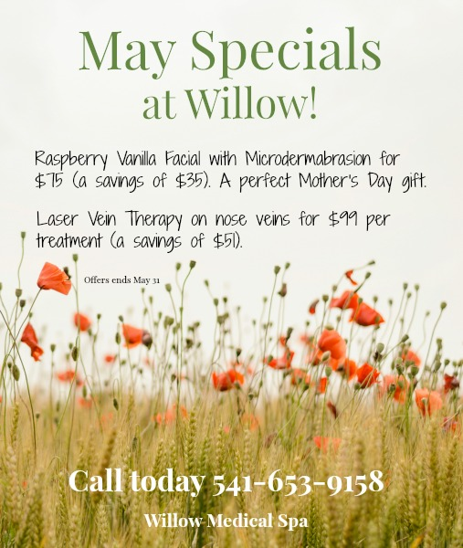 May 2017 Specials at Willow Medical Spa in Eugene